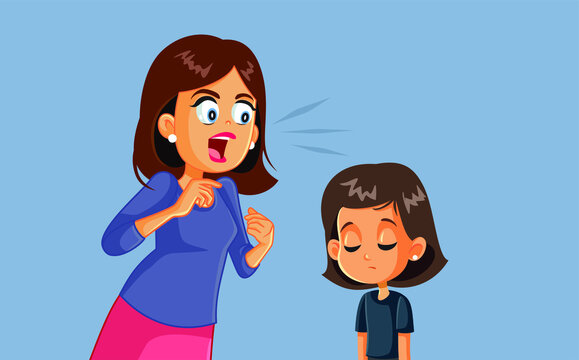 Angry Mother Screaming at her Child Vector Illustration