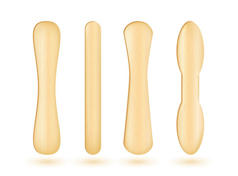 Popsicle sticks, .Ice cream wooden elements set. Ecological material. .Medical wood tongue depressors collection. Realistic vector Illustration.