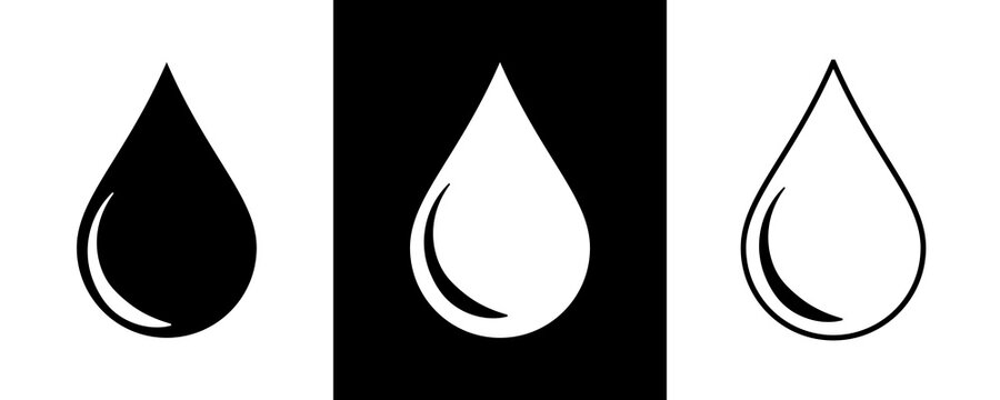 Vector drop icons. Three version on black and white background