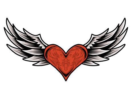 illustration vector love heart wings