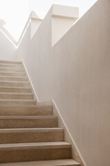 Minimal aesthetic architecture concept. Beige wall and stairs. Neutral minimal background