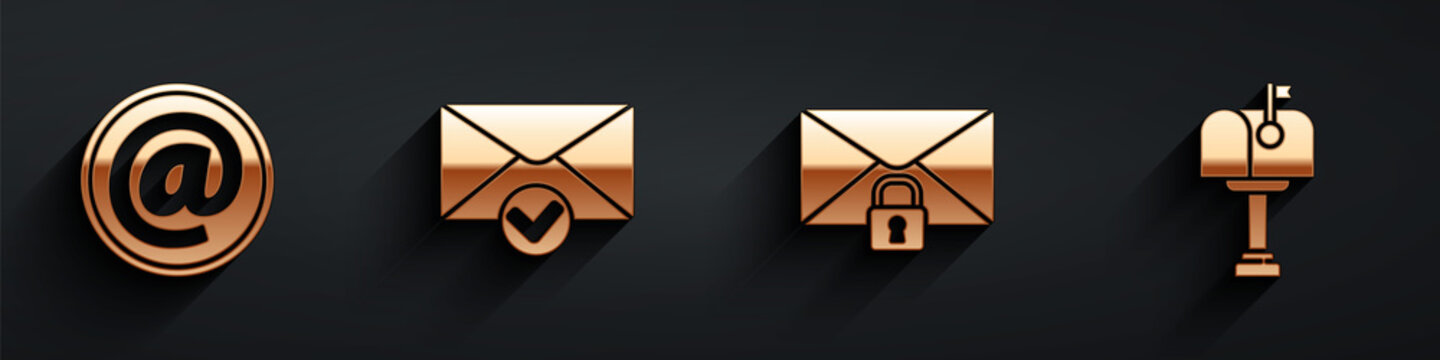Set Mail and e-mail, Envelope and check mark, Mail message lock password and Mail box icon with long shadow. Vector