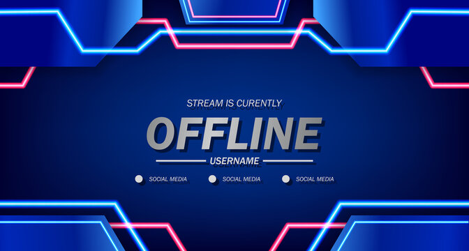 twitch offline for gaming or live streaming with neon light glow with blue background screen