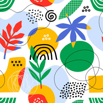 Seamless pattern with abstract hand drawn organic shapes. Collage style.