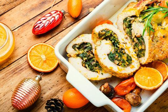 Turkey roll with kumquat and orange,Christmas food