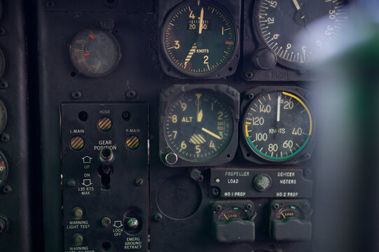 Close up of old vintage  airplane cockpit Flight Deck control panel
