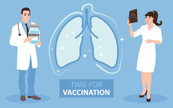 Doctors invite for vaccination against coronavirus. COVID-19 injection protects the lungs. Flat vector illustration.