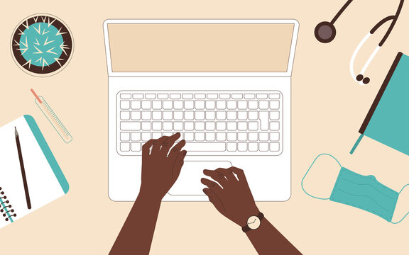 Male hands of an African American doctor at the table. Top view on laptop, stethoscope, medical mask. Flat vector illustration