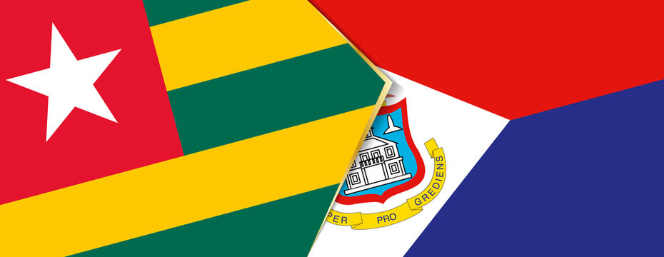 Togo and Sint Maarten flags, two vector flags.