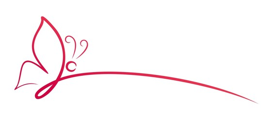 The symbol of a red butterfly one line.