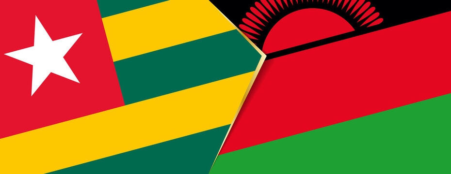 Togo and Malawi flags, two vector flags.