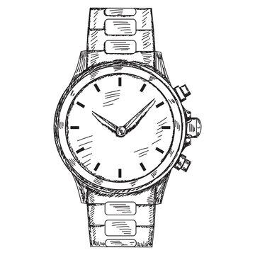 isolated, sketch drawn wrist watch