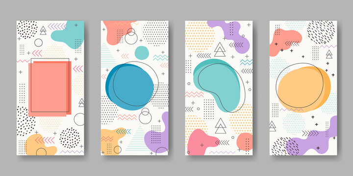 Set of abstract memphis backgrounds. Vector abstract geometric line graphic shapes