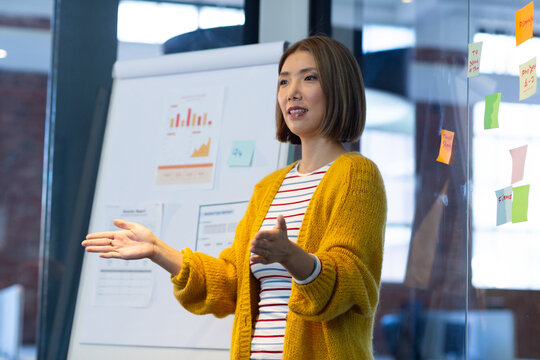 Asian businesswoman standing in front of whiteboard giving presentation in office