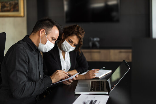 White masks, business people, professional.