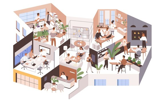 Office rooms and departments with modern interior. People at work areas and corporate spaces of big agency. Inner company's life. Colored flat graphic vector illustration isolated on white background