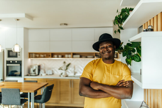 Portrait of a happy african man at home.