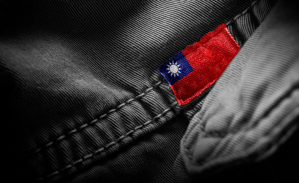 Tag on dark clothing in the form of the flag of the Taiwan