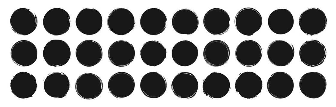 Set of circle brushes elements. Different circle brush strokes. Grunge round shapes. Boxes, frames for text, labels, logo, grunge. Vector illustration.