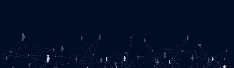 Obraz Human Connections on the dark blue background - fototapety do salonu