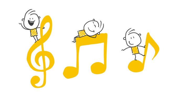 Strichfiguren / Strichmännchen: Musiknoten, Noten, Musik. (Nr. 637)