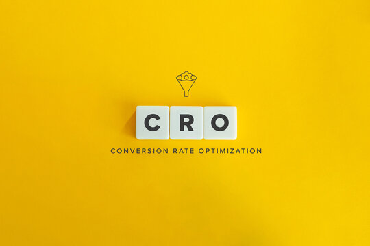 CRO (Conversation Rate Optimization) banner and concept. Block letters on bright orange background. Minimal aesthetics.