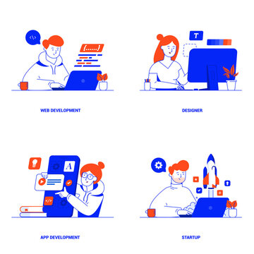 Modern flat color designed concepts of Web Development, Designer, App Development and Startup. Can be used for Web Project , Applications, Infographics and Print design. Vector Illustration