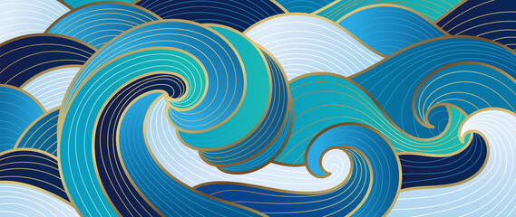 Fototapeta Navy blue Gold abstract wave line arts background vector. Luxury wall paper design for prints, wall arts and home decoration, cover and packaging design.