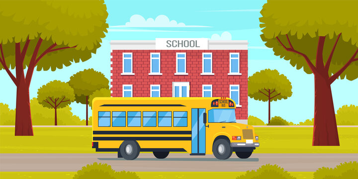 School bus yellow vehicle stands in parking near building. Special automobile for transporting children. Group of cheerful children going to school in bus on background of facade of school building