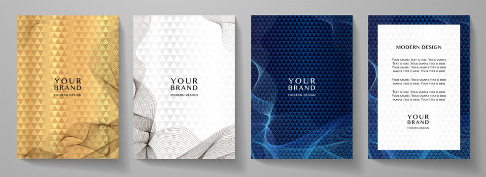 Modern cover design set. Abstract line pattern (guilloche curves). Creative wavy stripe vector collection layout for business background, certificate, brochure template