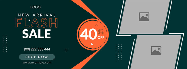 Fototapeta new arrival sale facebook cover page timeline web ad banner template with photo place.