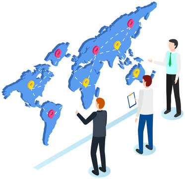 International postal mail delivery service isometric composition. People studying destination map with marks. Men work together with world map for worldwide delivery, discuss and make notes