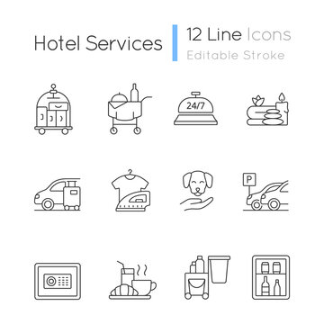Hotel services linear icons set. Service for visitors to choose what to eat. Cleaning service to rooms. Customizable thin line contour symbols. Isolated vector outline illustrations. Editable stroke
