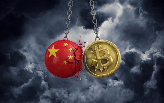 China flag smashing into a gold bitcoin crypto coin. 3D Rendering