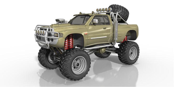 3d Bigfoot, Monster Truck in Olivgrün mit Ersatzrad, Frontspoiler, soliert