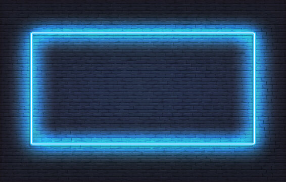 Neon frame sign template. Realistic blue signboard glowing design