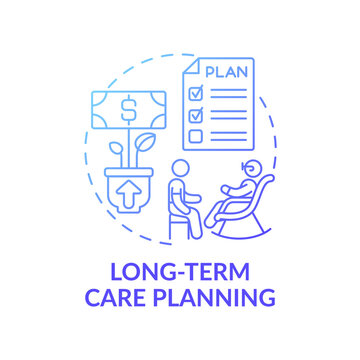 Long-term care planning concept icon. Wealth management idea thin line illustration. Retirement planning. Assisted living. Budgeting for expenses. Vector isolated outline RGB color drawing