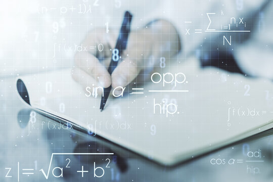 Double exposure of creative scientific formula concept with man hand writing in notebook on background, research and development concept