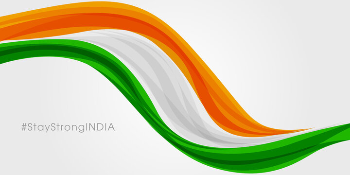 Stay Strong India against COVID-19. Stay strong India hashtag against corona virus. Vector illustration.
