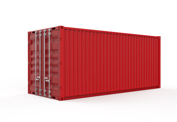 Obraz red container isolated on white - fototapety do salonu