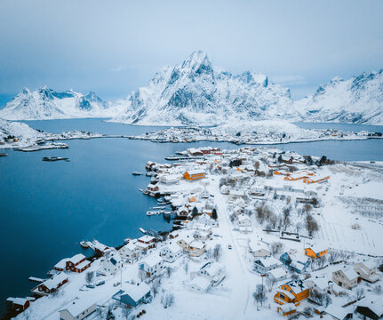 Aerial view of a beautiful winter landscape with a small townscape near Ramberg, Lofoten Islands, Norway.