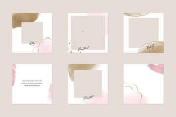 Obraz Instagram social media story post feed background or web banner template. minimal shiny pink nude gold watercolor abstract shape vector  mockup layout. for beauty, jewelry, cosmetics, wedding, make up - fototapety do salonu
