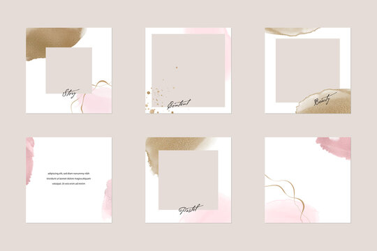 Instagram social media story post feed background or web banner template. minimal shiny pink nude gold watercolor abstract shape vector  mockup layout. for beauty, jewelry, cosmetics, wedding, make up