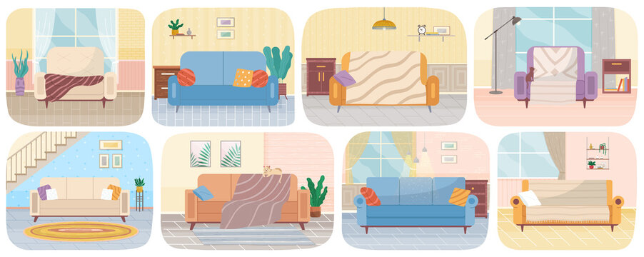 Set of illustrations about living room interior design. Lounge, sofas for relaxation. Arrangement of furniture in living room with couch vector illustration. Comfortable upholstered furniture