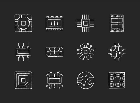 Microcircuits chalk white icons set on black background. Designing modern microcomponents for device creation. Building electronic systems. Isolated vector chalkboard illustrations
