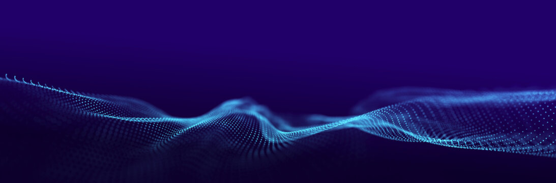 Technological wave of points. Digital background. Great data visualization.. 3D rendering.