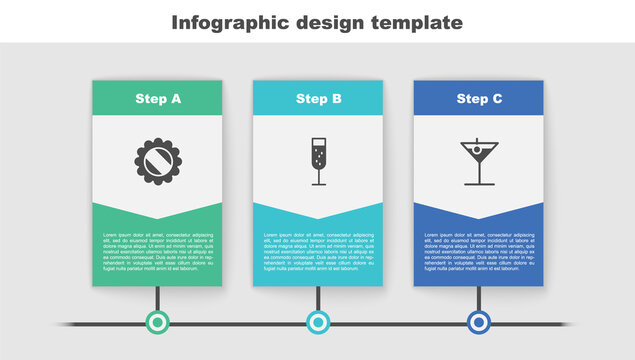 Set Bottle cap, Glass of champagne and Martini glass. Business infographic template. Vector