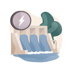 Hydropower abstract concept vector illustration.