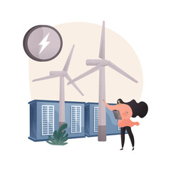 Wind power abstract concept vector illustration.