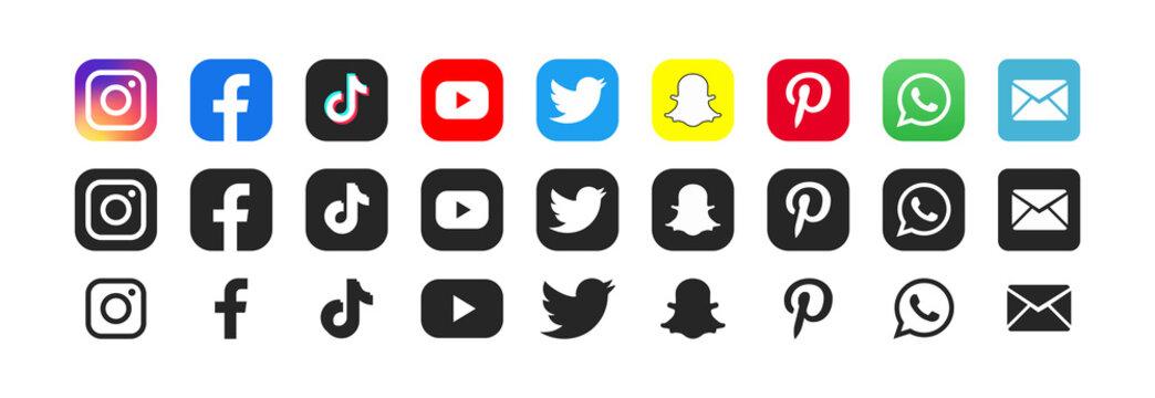 Social media. Facebook, twitter, instagram, youtube, tiktok, snapchat, pinterest, whatsap, mail - Collection of popular social network logo. Editorial illustration. Rivne, Ukraine - April 27, 2021